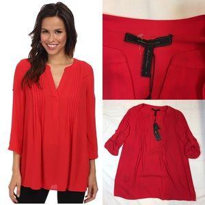 BCBG MAXAZRIA Gena Red V Neck Button Pleated Shirt